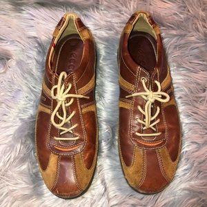 ECCO Yak Brown Leather Suede Casual Shoe Sneaker